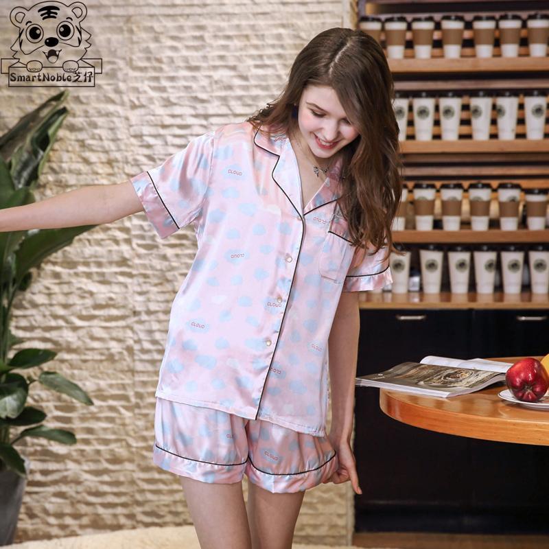 62042cb9e Compre Pijama Conjunto De Seda Camisola Das Mulheres Sleepwear Tops E  Blusas De Cetim Calções Homewear Pijamas Para As Mulheres Harajuku Kawaii  Sexy Bonito ...