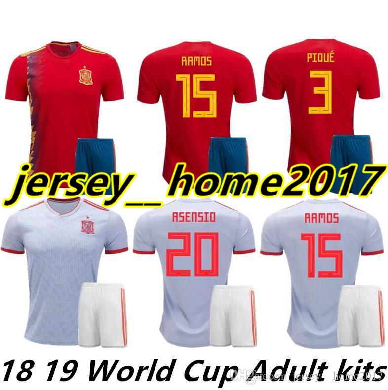 fc0635eac9607 España Home Jerseys 2018 Kits De Adulto RAMOS ISCO ASENSIO THIAGO MORATA 17  18 19 Copa Del Mundo Espana Jersey Soccer Kit Camiseta Uniformes De Fútbol  Por ...