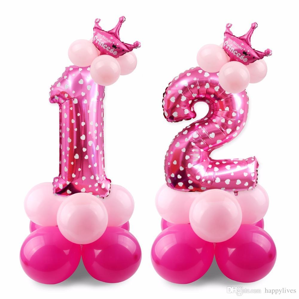 208ada699 Compre Decoraciones De La Fiesta De Cumpleaños 17 UNIDS Azul Rosa Número Globo  Feliz Cumpleaños Globo Fiesta De Cumpleaños Decoración Niños Niño Chica ...