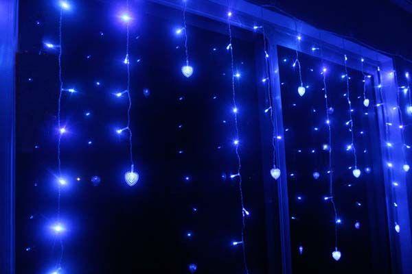 Многоцветный светодиодный фестиваль полосок Праздник Свет Рождества Свадьба Украсить занавес лампы 4 м 100 SMD 18 Hearts EU / US / UK / AU