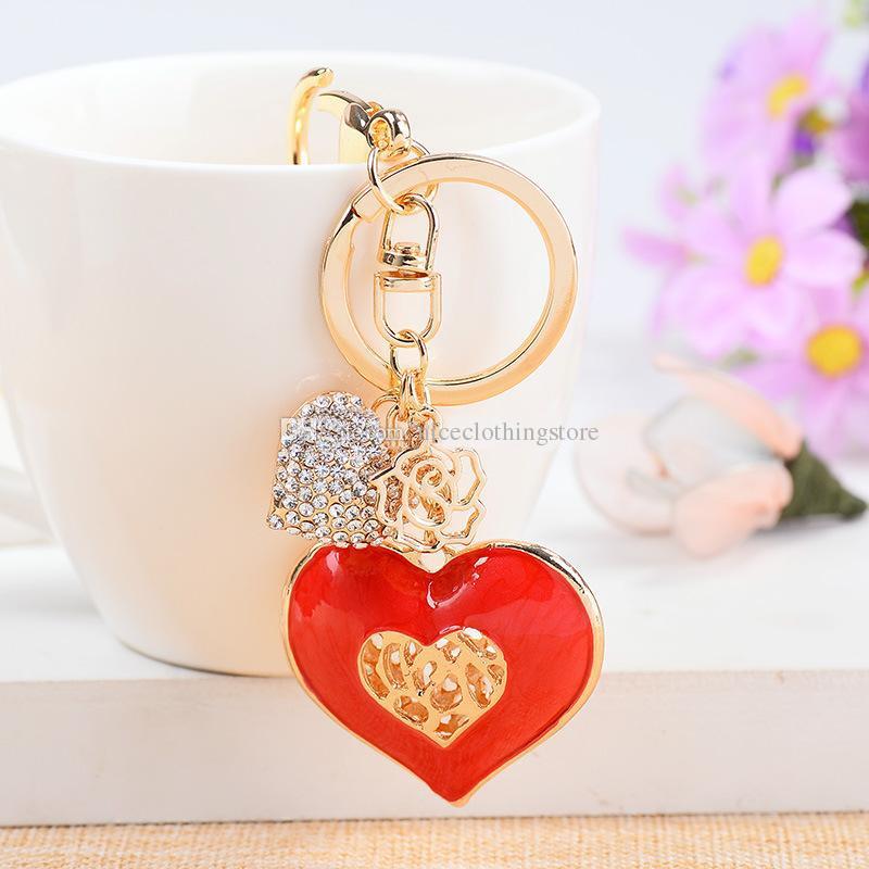 Rhinestone Kristal Loving Kalp Gül Altın Kaplama Metal Anahtarlık Anahtarlık Araba Anahtarı Zincirleri Çanta Charms Hediye