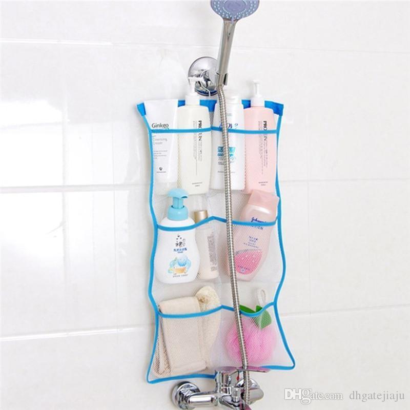 2018 Green Mesh Bath Shower Organizer 6 Storage Pockets Hanging ...
