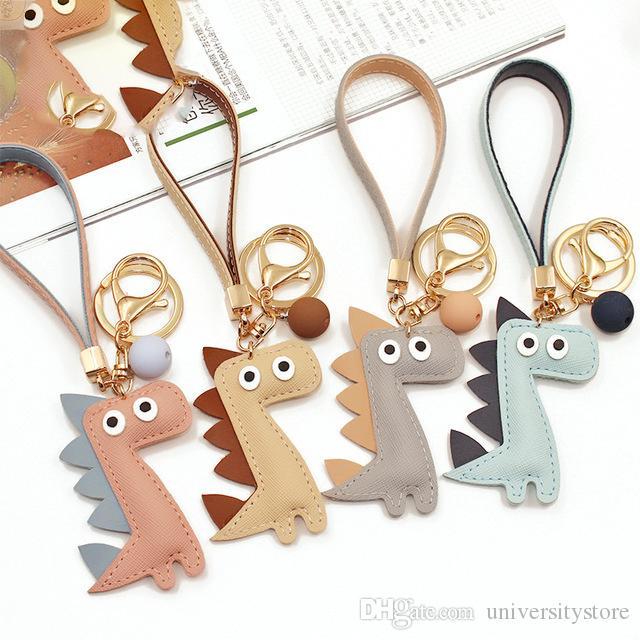 Cute Dinosaur Keychain&Key Ring Fashion Cotton Stuffing Cartoon PU Key Chain Creative Car Bag Phone Key Ring Accessories