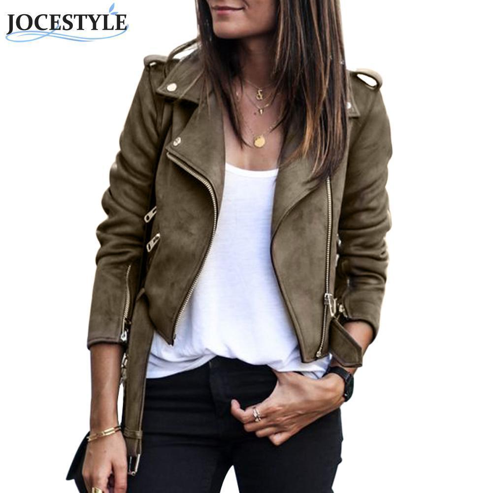 7253bd04fc9 Faux Leather Women Jacket Jaqueta Feminina Short Slim Basic Suede Jackets  Female Coat Winter Motorcycle Streetwear S1031 Womens Leather Jackets Coats  And ...