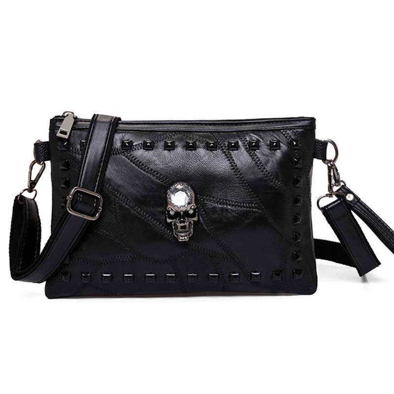 fd5a7e8a9ad9 Black Design Skull Rivet Envelope Clutch Bags Women Fashion Women s ...