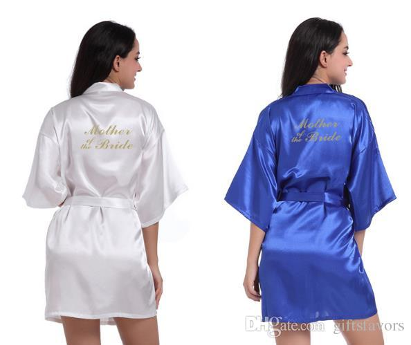 a8fd4cdf65 glitter wedding satin robes Bride Bridesmaid maid of honor mother of bride  kimonos gowns gifts party favors 4pcs lot free shipping