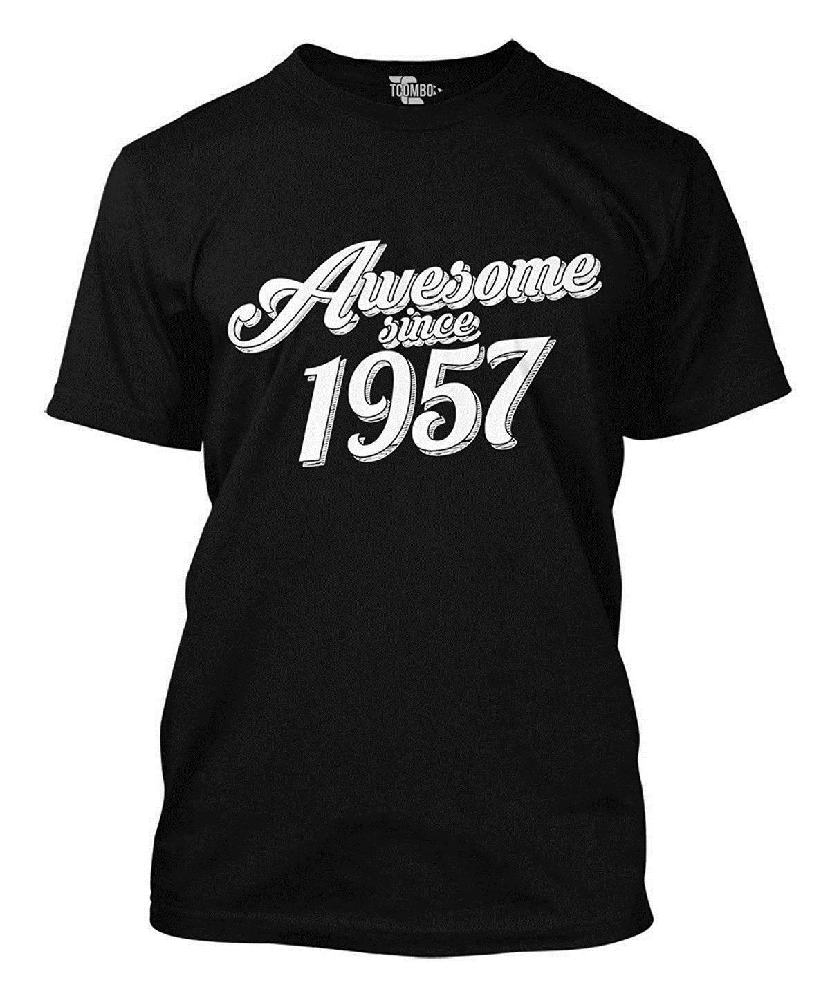 Awesome Since 1957 60th Birthday MenS T Shirt Tee 100 Cotton Short Sleeve Summer Men Original Cool Tshirt Designs Create From