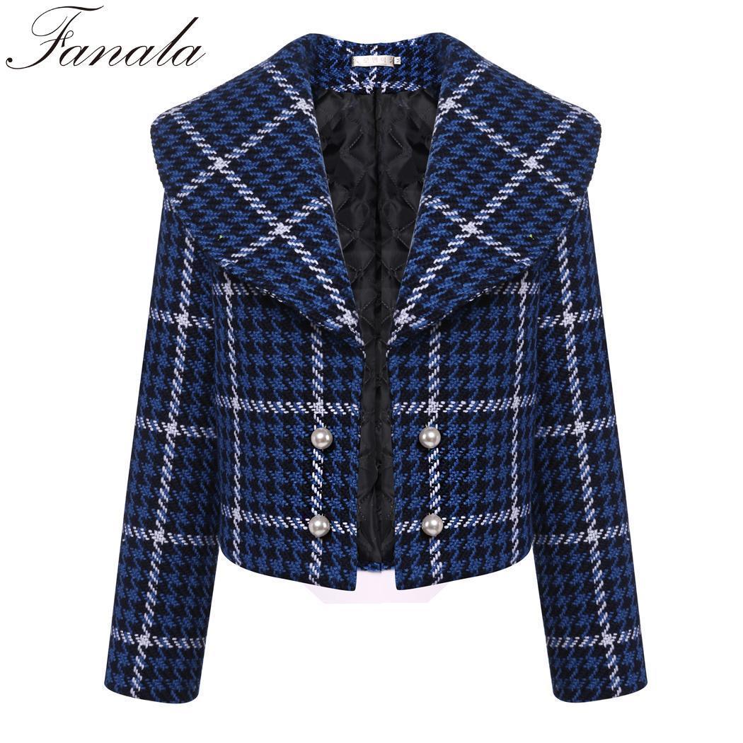 e947cd5355e Long Collar Fashion Plaid Coat Chaqueta Jacket Short Women Autumn ...