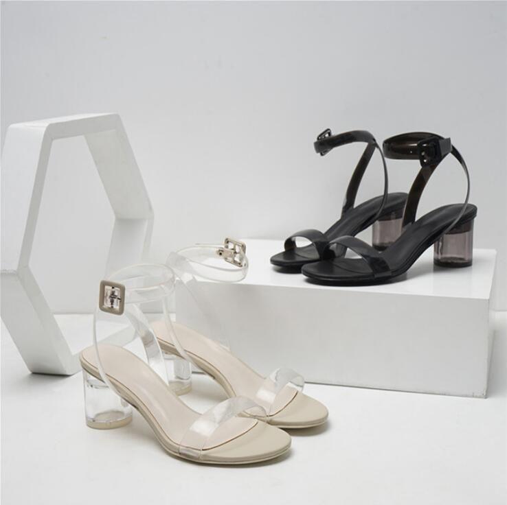 Women Sandals 2018 Summer High Heels Open-toed Catwalk Sandals Women  Transparent Crystal High Heels Sandals Size 4-9 Shoes Woman Sandals  Platform Sandals ... e4b34e7cb5b5