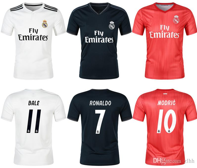 new styles af246 763f6 Thailand Quality 18/19 Real madrid home away soccer Jersey RONALDO CR7 home  white BALE RAMOS ISCO KROOS 18 19 away black football shirt