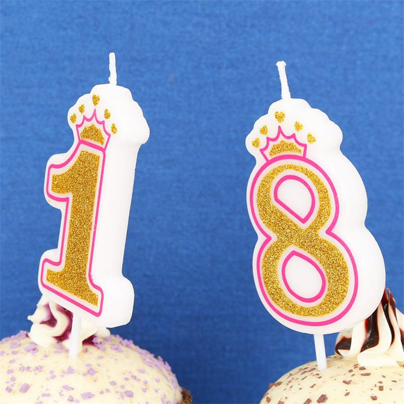 2018 Shinning Gold Pinkblue Crown Birthday Candles For Kids Girls