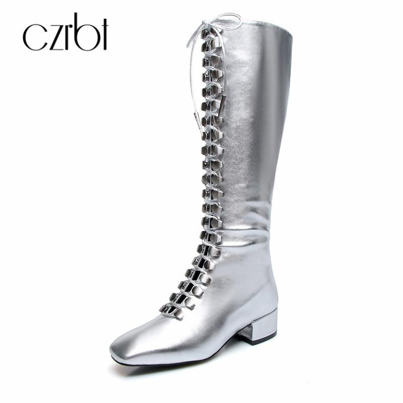 b051b91e677a CZRBT 2018 New High End Artisanal Boots For Women With Knee High Boots  Zipper Round Toe Metal Trim Fashion Flat Women'S Shoes Mens Dress Boots  Green Boots ...