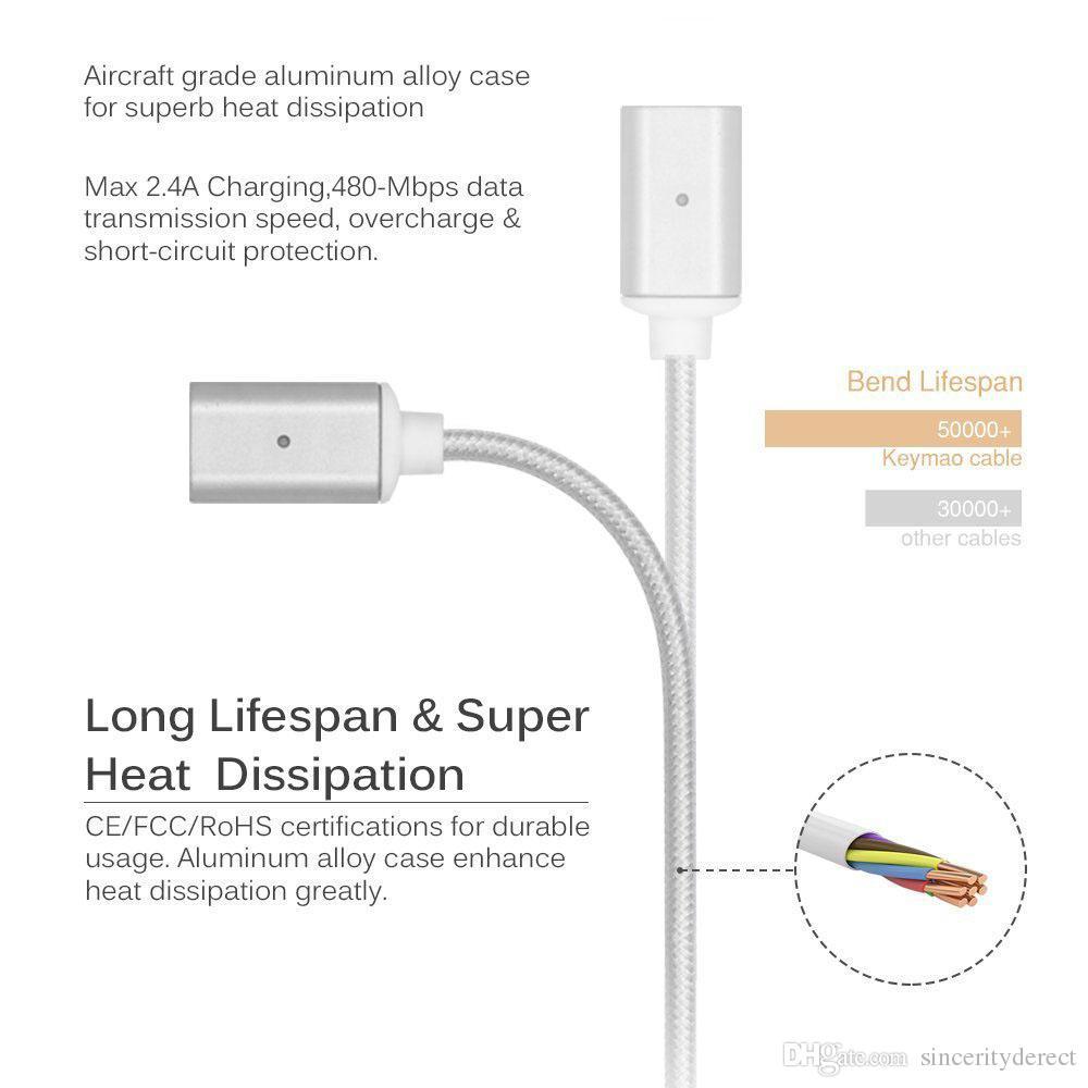 مغناطيسي نوع- C مايكرو USB LED شحن سريع شاحن كابل سلك مزامنة بيانات شاحن محول لشركة سامسونج سوني أندرويد