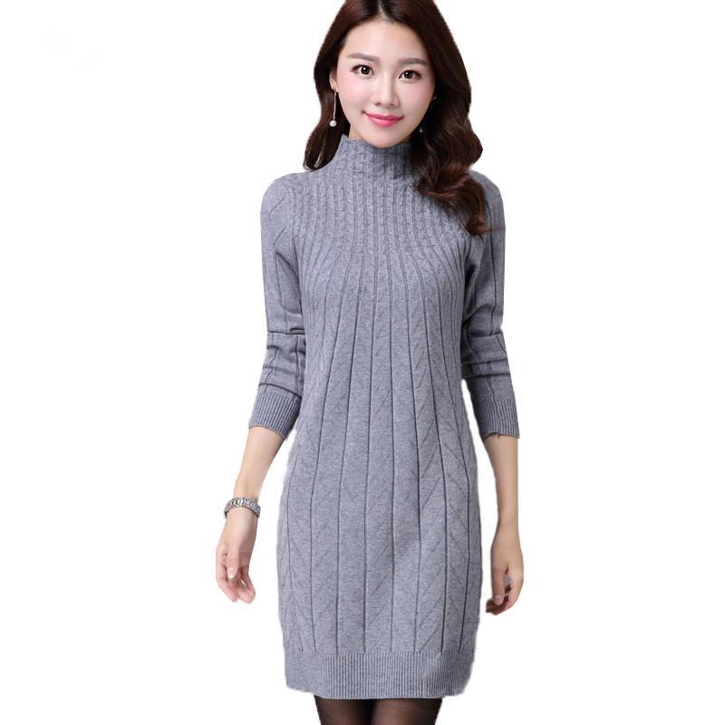 52339fadf9e3b 2019 New Autumn Winter Women Sweater Dresses Long Sleeve Thick Warm Knitted Dress  Sexy Slim Turtleneck Dresses Vestido De Festa AB022 D18102902 From Tai01
