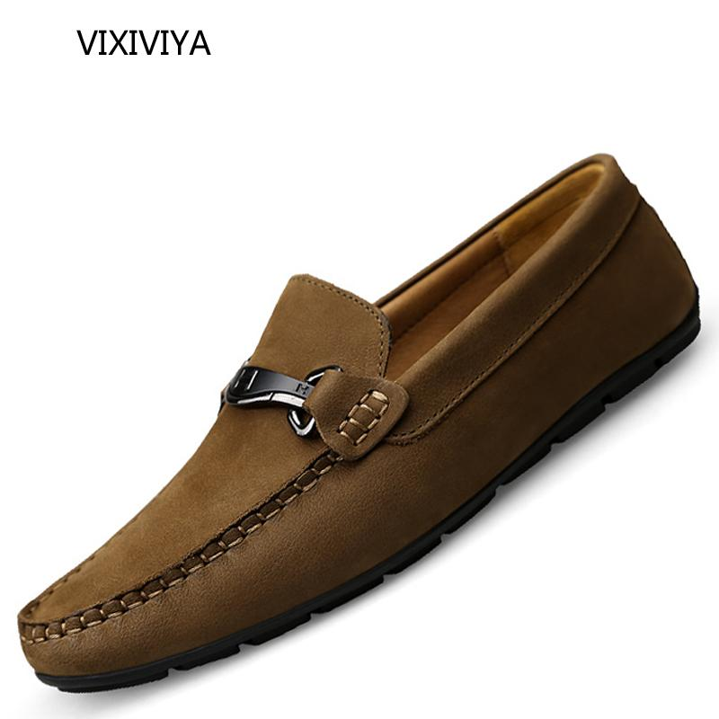 44b32964ea337 Compre 2018 Zapatos De Los Hombres De Otoño Mocasines Casuales Resbalón En  El Hombre Transpirable Zapatos De Cuero Genuino Para Los Hombres Jóvenes  Moda ...