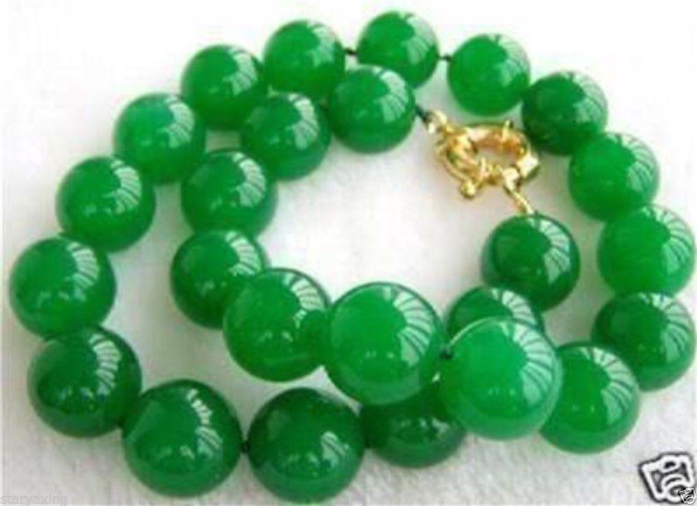 12mm grüne Jade Halskette 18
