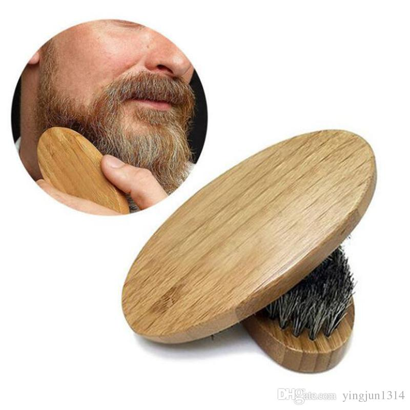 Venta caliente para hombre jabalí cerdas del pelo duro redondo de madera mango barba bigote cepillo conjunto envío gratis