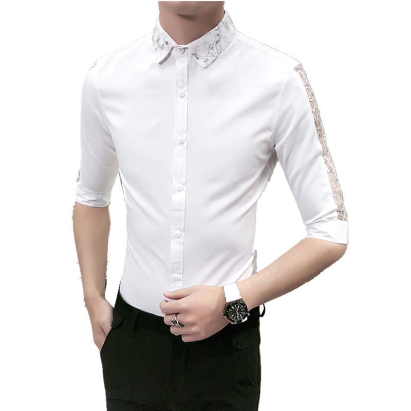 Großhandel Heißer Verkauf Männer Hemd Korean Slim Fit Hairstylist Arbeit  Shirts Social Sexy Spitze Patchwork Halbe Hülse Kleid Hemd Mann Bluse Homme  Von ... 2963f060ac