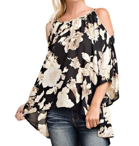 a55b593d7bab55 2019 Plus Size Women Clothing Off Shoulder Floral Print Blouses 3/4 Flare  Sleeves Asymmetrical Casual Sexy Shirts Blusas 5XL Top 2019 From  Illusory05, ...