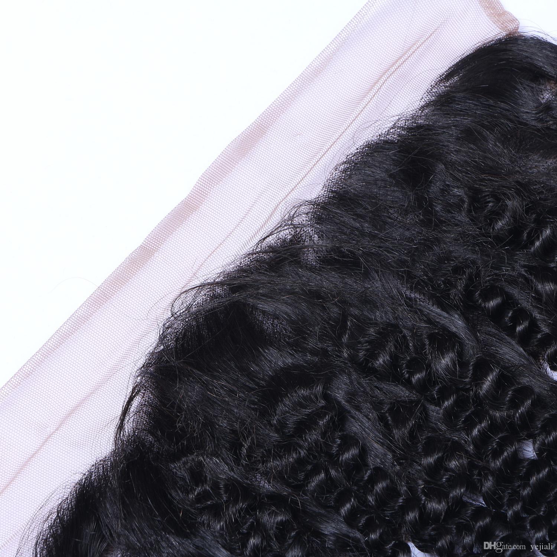 Бразильский кудрявый вьющиеся 13x4 кружева фронтальная закрытие с волосами младенца Реми человеческих волос уха до уха предварительно сорвал бесплатную часть