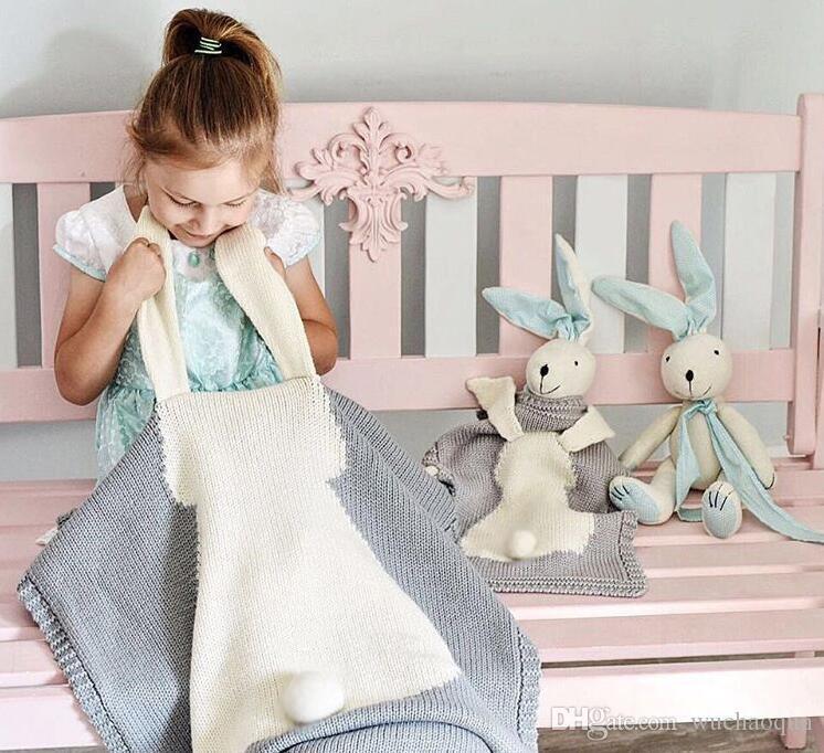 INS 5 Renk Çocuk Battaniye Bebek Kız Sevimli tavşan Örme Battaniye Uyku Kundaklama Uyku Tulumu Sevimli çocuklar Bunny Kundak BY0149