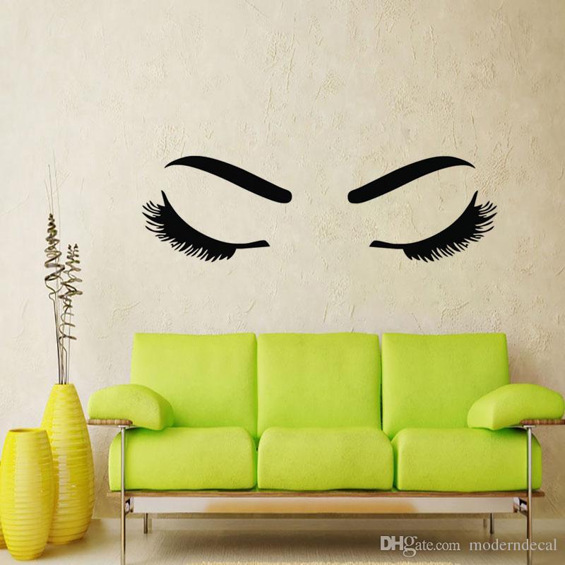 eyelashes wall stickers beauty salon decoration diy vinyl wall