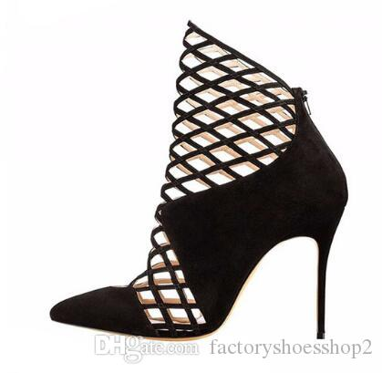 f5f55094db0f 2018 Ladies High Heel Pointed Toe Pumps Cut Out Decoration Sandals Handmade Stiletto  Shoes For Party Dress Black Boots For Women Platform Boots From ...