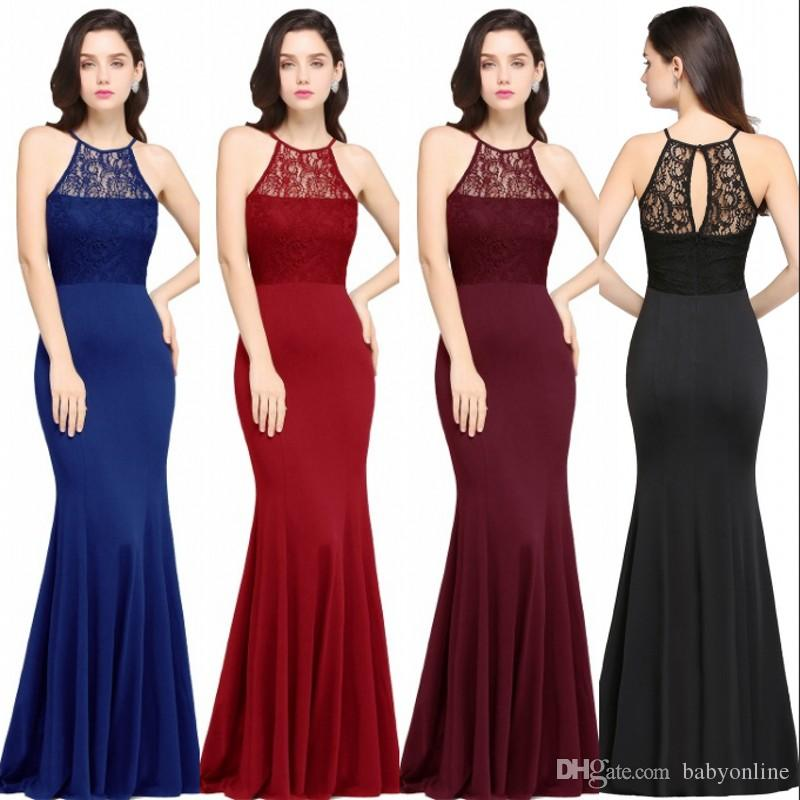 2018 Cheap Royal Blue Burgundy Black Lace Mermaid Evening Dresses ...