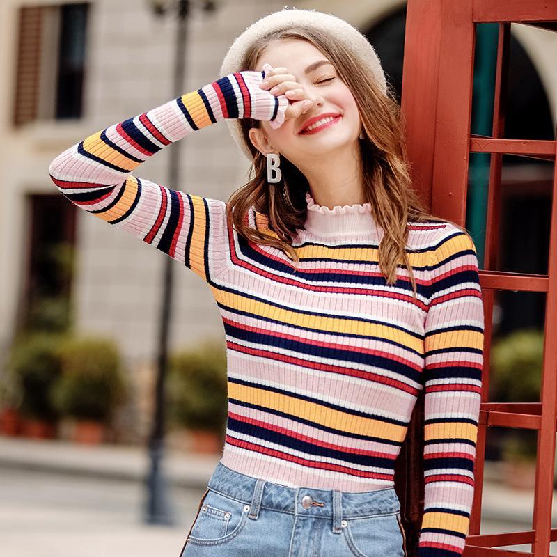 Acquista Dolcevita Arcobaleno Maglioni Donna Inverno 2018 Maglioni Lavorati  A Maglia Vestiti Moda Maglioni Oversize Pullover Maglione Vendita Donna Top  A ... 9ffc8444998