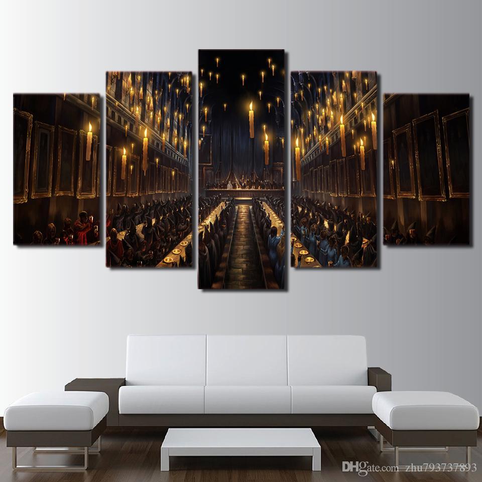 Großhandel Moderne Dekoration Wohnzimmer Wandkunst 5 Panel Film Harry  Potter Kirche Kerzenlicht Bild Magie Leinwand Malerei Drucken Rahmen Von  Zhu793737893, ...