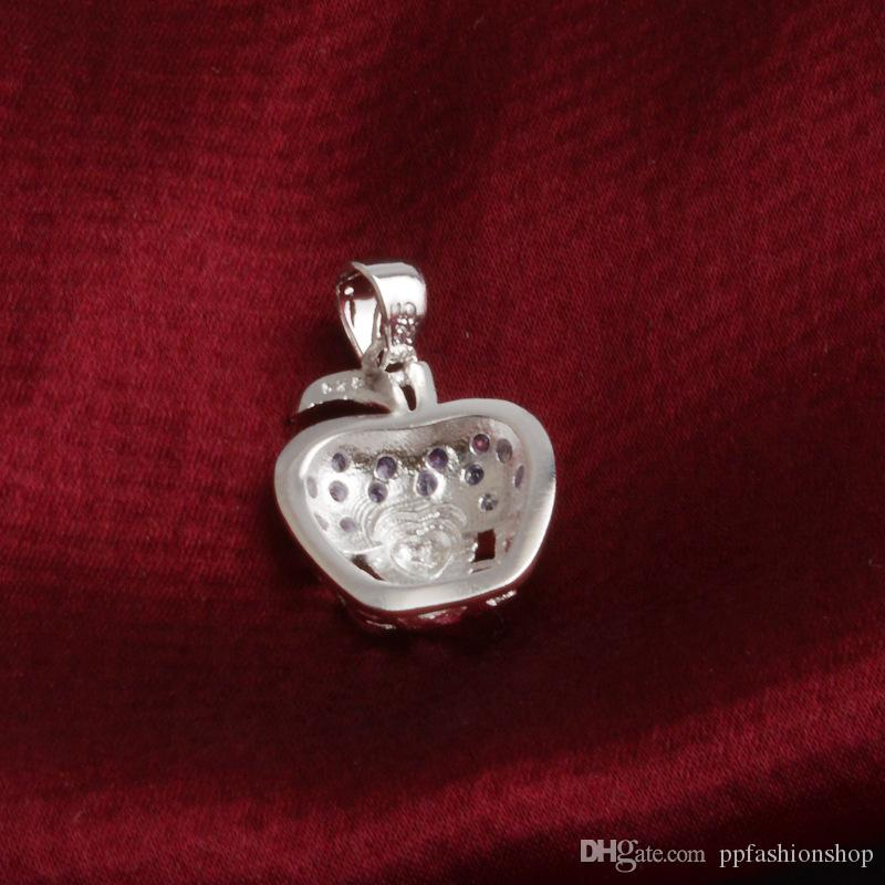 HOT Silver Jewelry Pendant Fine Apple Pendant 925 jewelry silver plated Necklace Fashion gift necklace Top Quality