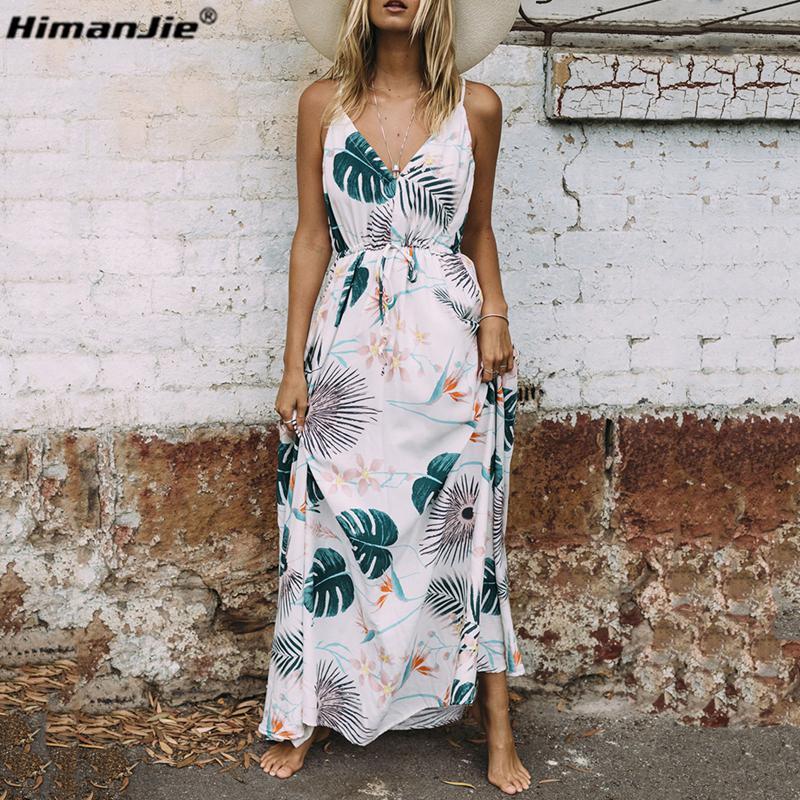 c24a52d445cb3 HimanJie Vintage summer dress women sundress Hollow out boho floral print  maxi dress 2017 beach dress Strappy vestidos de festa D1891212