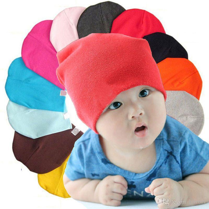 68cde611456 Kids Pure Cotton Soft Hats Boy Girl Lovely Candy Multi Color Toddler ...