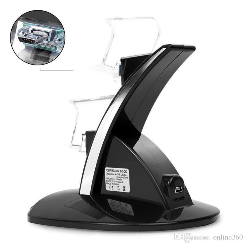 Para PS4 Charger Controlador controlador duplo de carregamento USB Charger Docking titular suporte Station para PS4 xbox um PlayStation gamepad com caixa