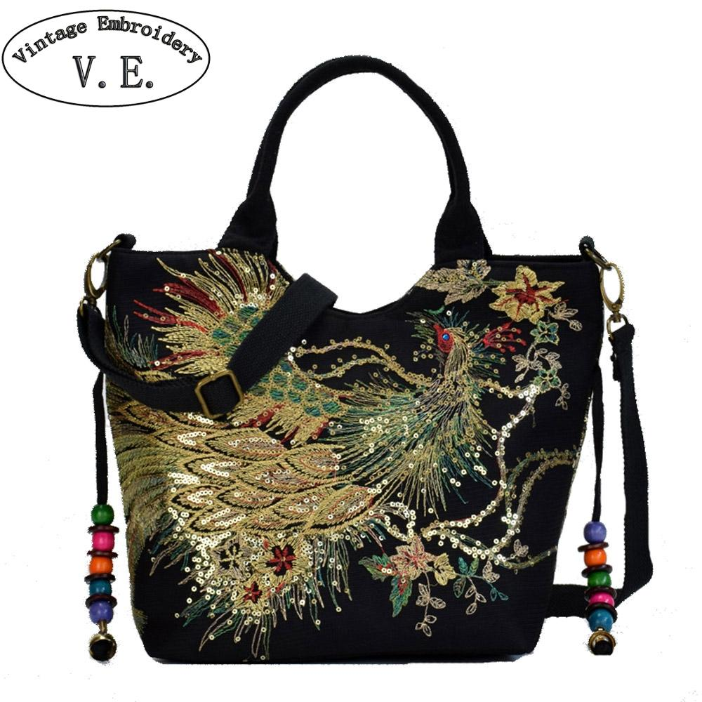 7bb84c3efb38 Vintage Embroidery Women S Sequin Handbag Ethnic Phoenix Embroidered  Shoulder Messenger Bag Leisure Crossbody Beach Travel Bag Handbags Purses  From Bluehill ...