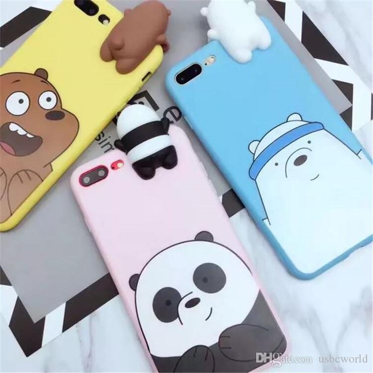 Fashion Cute Cartoon 3D Bear Soft Silicone Phone Case For iPhone X 6 6s 7 8 Plus
