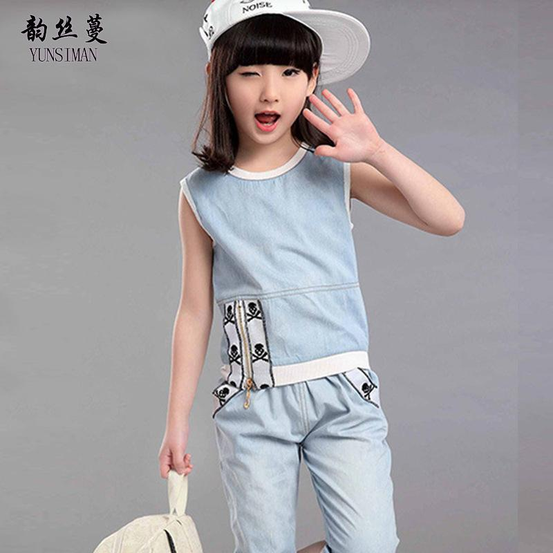 033929e462d5 2019 Girls Summer Clothing Set For Age 4 6 8 10 12 Years Kids Cartoon  Cowboy Sports Suit Jeans Kids Sport Clothing Pants Set 9 39C02 From  Jasmineer, ...