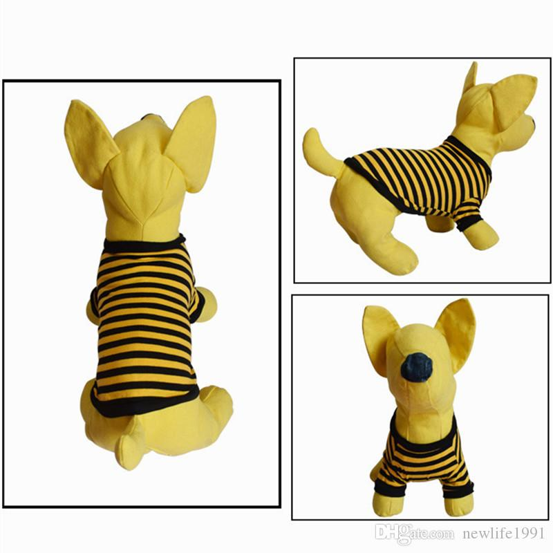 Puppy Short Sleeve T-shirt Pet Dog Fashion Striped Clothing Cute Dogs Cats Summer Wear Vest Pets Breathable Casual Clothes Free Ship