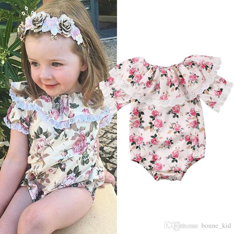 46d991da5 Retro floral baby girl romper onesies lace flower ruffle jumpsuit outfit  short sleeves kid girls clothing roupas bodysuit sunsuit 0-24M