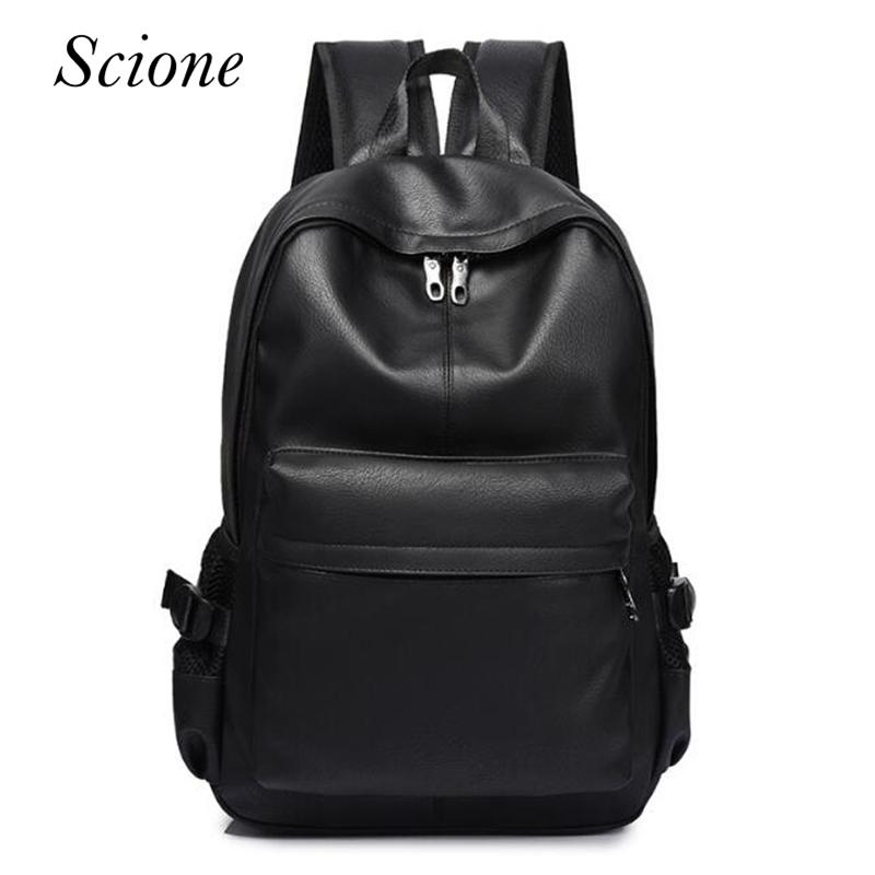eda3104b5e47d Fashion Men S Leather Backpack School Bag For Boy Classic Black Business  Backpacks Travel Laptop Shoulder Bags Book Bag Rucksack Swiss Army Backpack  Black ...