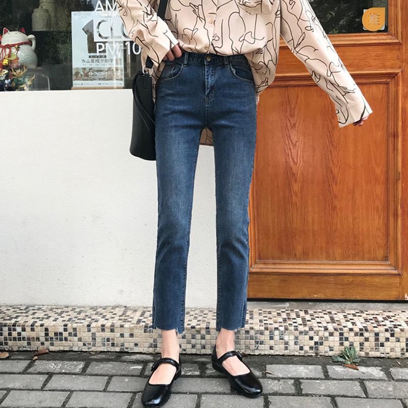 8cad843fe8 Compre Jeans Rectos Mujeres Vintage Cintura Alta Jeans Vaqueros Lavados  Mujeres Causul Otoño Sólido Hasta Los Tobilleros Pantalones De Mezclilla  Pantalones ...