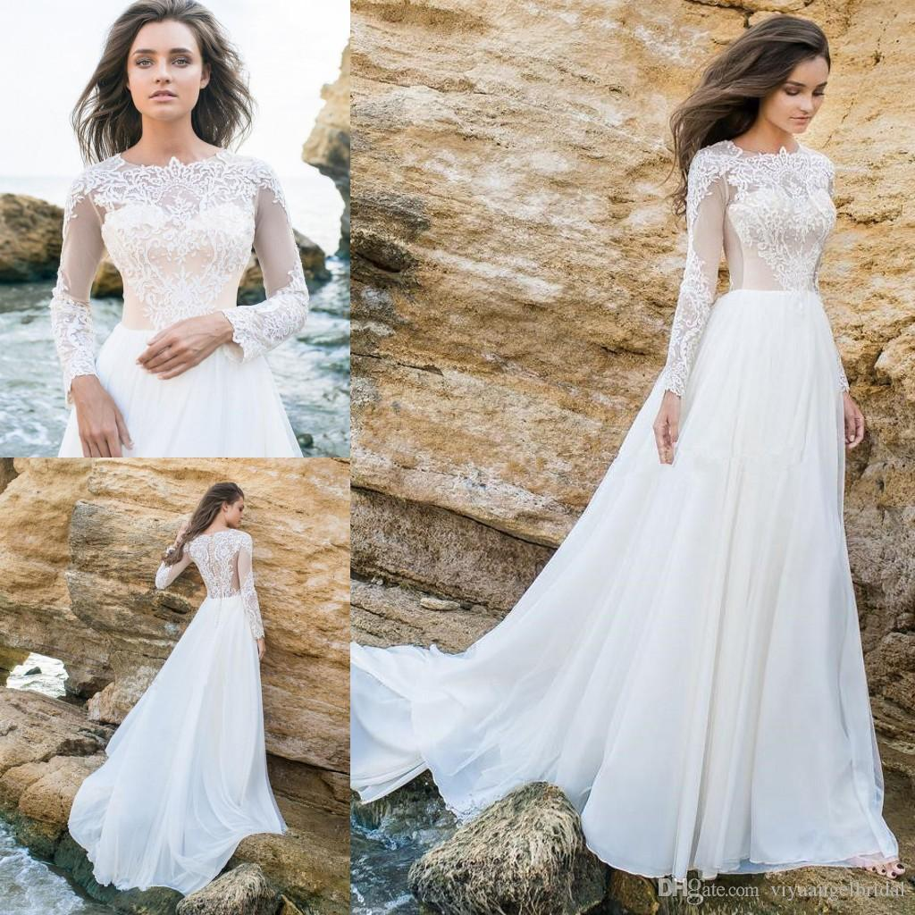 88098a1e449c Discount 2018 A Line Wedding Dresses Sheer Neck Long Sleeves Lace Appliques  Beach Bohemian Summer Country Covered Button Sweep Train Bridal Gowns Weding  ...