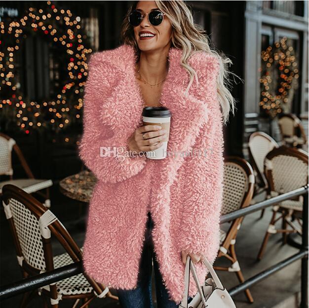 612d8ebb8fed 2019 Fluffy Long Faux Fur Coat Women Thicken Winter Fake Fur Streetwear  Pink Black Coat Female Fashion Streetwear Cardigan Outerwear From  Heyan0117