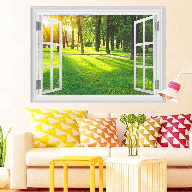Acquista 3d Finestra Natura Paesaggio Vista Adesivi Murali Home ...