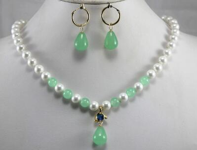 Free Shippingengagement and party jewelry sets 8mm white shell pearl dotted with light green jades necklace earrings