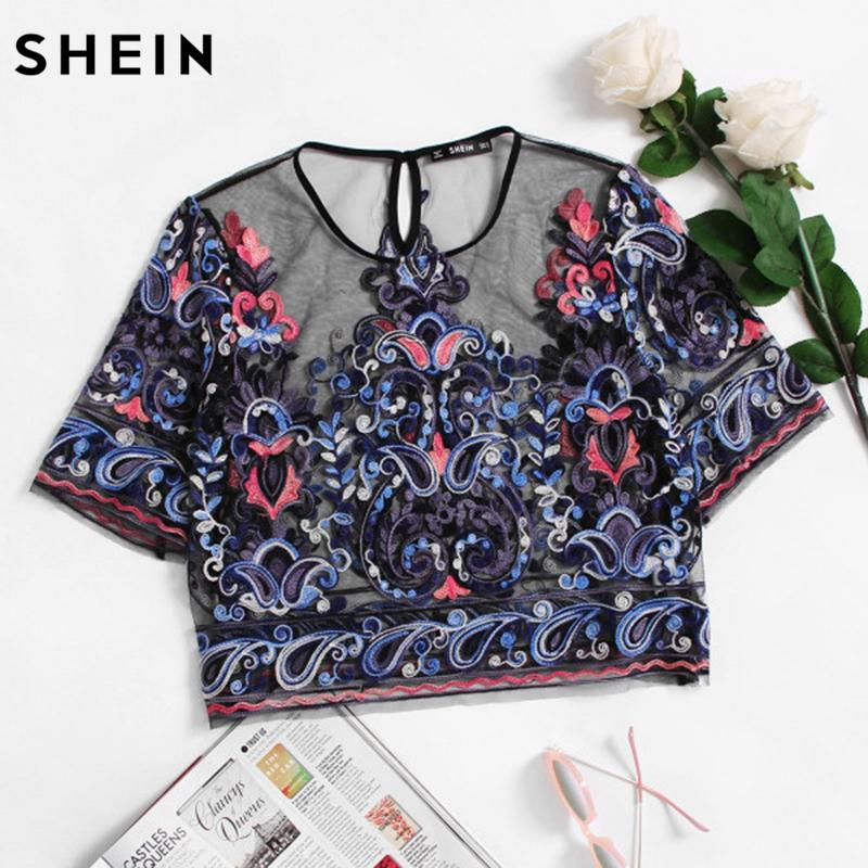 572897f95f453 2019 SHEIN Embroidery Womens Tops Buttoned Keyhole Botanical Embroidered  Mesh Top Multicolor Short Sleeve Crop Blouse From Matilian