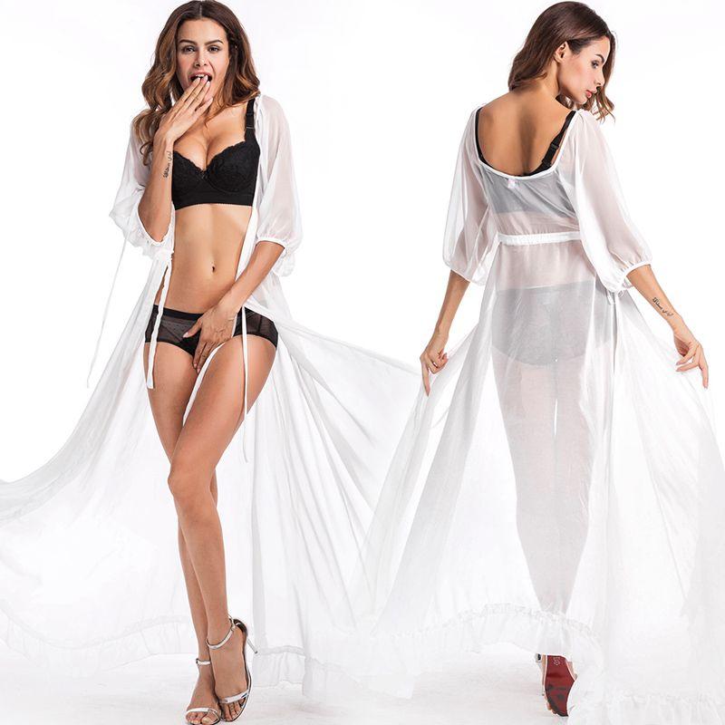 25d9034c96bf5 2019 Honeymoon Dress Beach Cover Up Dress Lace Beach Tunic Pareos Swimwear  Women 2018 Bikini Cover Up White Chiffon Swimsuit Cover Up From  Clothes_zone, ...