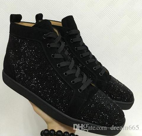 a6c01f67aef03c 2018 New Special Offer Suede   Black Rhinestone Strass Red Bottom Shoes Men  Women s Flat Red Sole Shoes High-Top Sneaker Lace-up Casual Shoe Flats  Sneaker ...