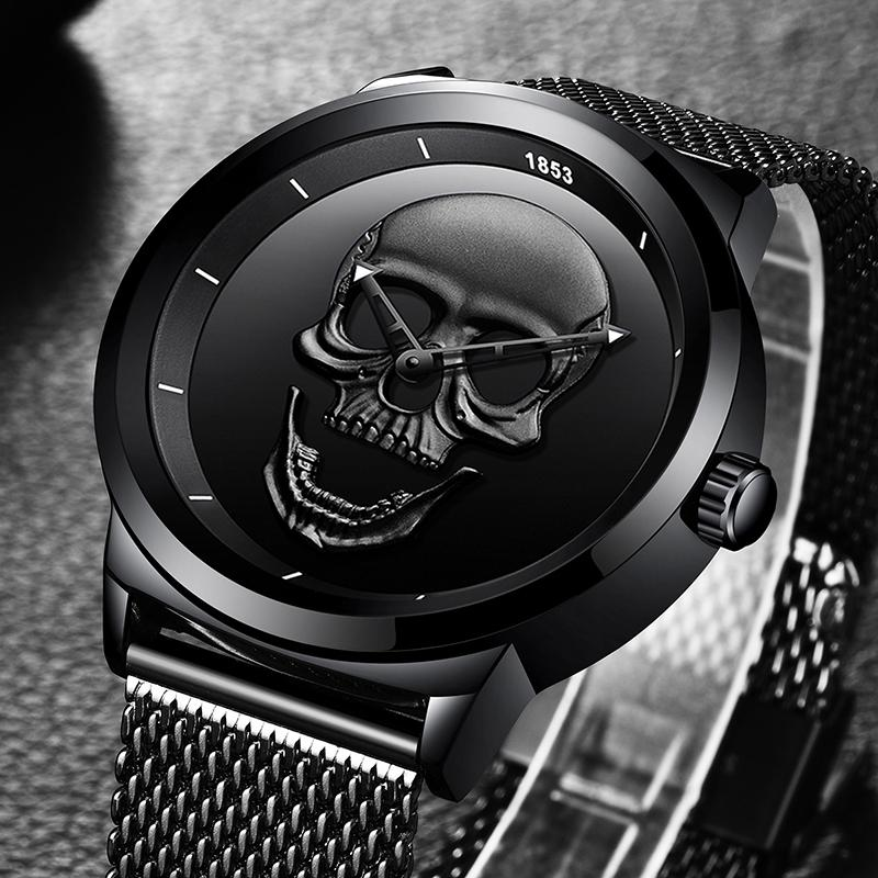 skeleton diamond black punk watches brand from automatic winner steam best mechanical clock watch product male wristwatches men