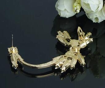 2016 moda ear clipe brincos branco borla gem cristal imitação de pérolas punk rock manguito ear earp brinco para as mulheres